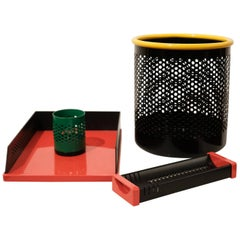 Postmodern Italian Desk Set Wastepaper Basket, 1980s