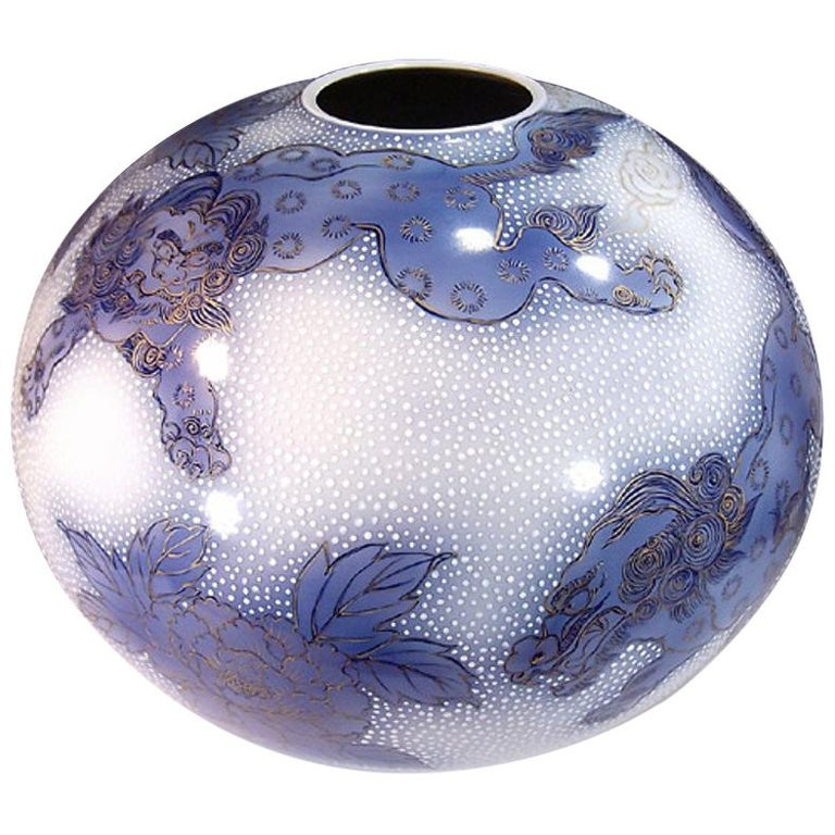 Japanese Large Gilded Blue White Porcelain Vase by Contemporary Master Artist