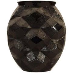 """René Lalique Art Deco Style Black Glass Vase """"Tortue"""", 20th Century"""