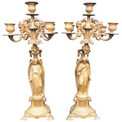 Pair of Gothic Revival Five Candle Candelabras with Earth Angel Sculptures