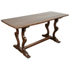 Exceptional 18th Century Walnut Italian Trestle Table