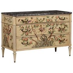 Piedmont Chinoiserie Lacquered Wood Chest of Drawers, 18th Century