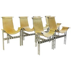 Metal Frame and Leather Chairs, Set of 6
