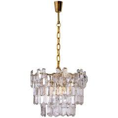 J.T. Kalmar Palazzo Chandelier Gold Brass Glass, 1970s