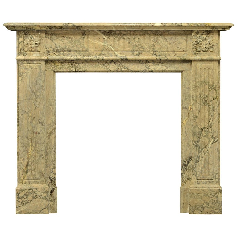 Antique Louis XVI Fireplace Mantel in Beautiful Escalette Marble For Sale