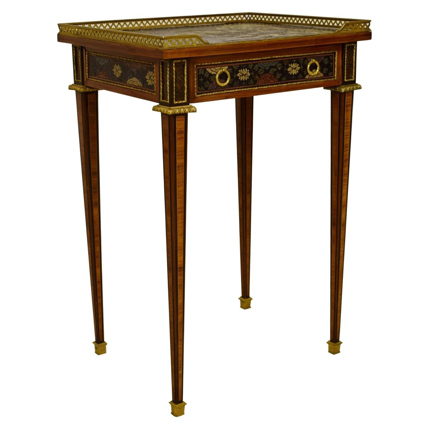 19th Century, French Chinoiserie Lacquered Wood Center Table
