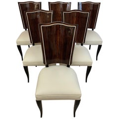 Set of Six French Macassar Art Deco Chairs, by Gouffè