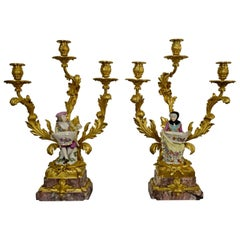 Gilded Bronze and Porcelain France Louis XVI Candelabras, 19th Century