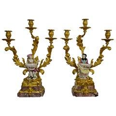 Vergoldeter Bronze und Porzellan Frankreich Louis XVI Kerzenleuchter, 19. Jahrhundert