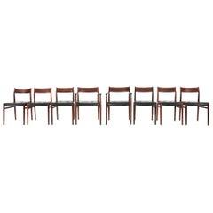 Arne Vodder Set of 8 Dining Chairs Model 418 Sibast Mobler, 1965