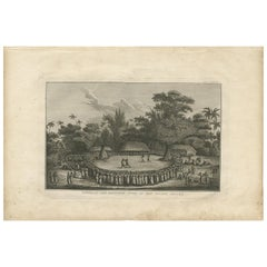 Antique Print of the Arrival of Captain Cook, 1803