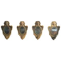 Papier Maché Piedmont Louis XVI Four Appliques with Mirrors, 18th Century