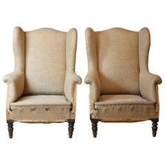 Pair of French 19th Century Burlap Hessian Wingback Armchairs