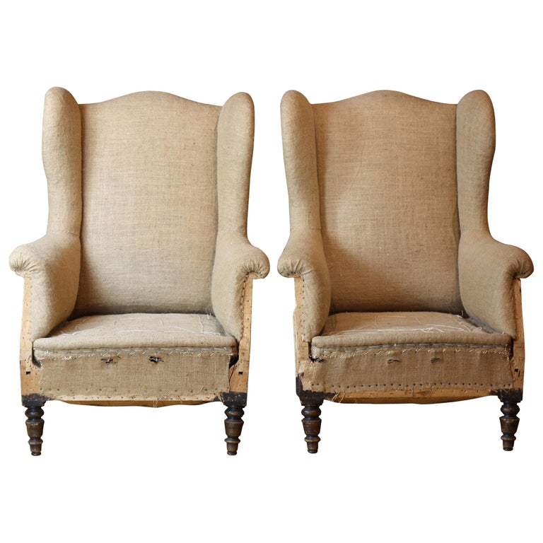 Pair Of French 19th Century Burlap Hessian Wingback Armchairs For