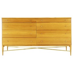Paul McCobb Eight-Drawer Chest in Mahogany with Brass Cross Stretchers