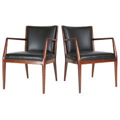 Pair of Danish Armchairs in Mahogany Wood and Leather Seating, 1960s