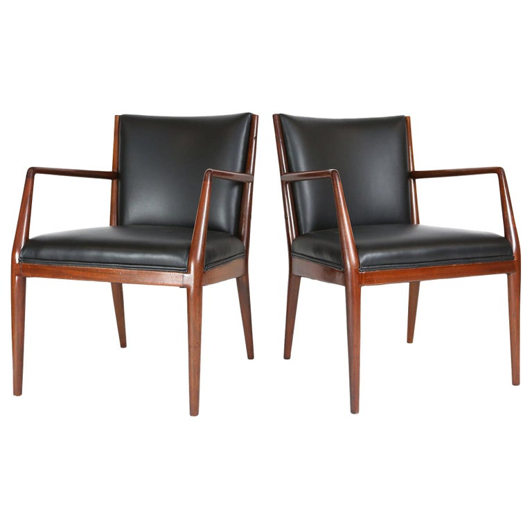 Pair of Danish Armchairs in Mahogany Wood and Leather Seating, 1960s For Sale