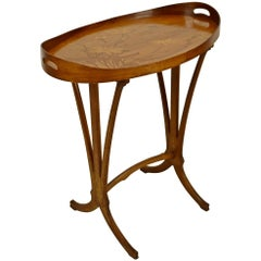 Emile Gallè Inlaid Wood Tray Table, 19th Century