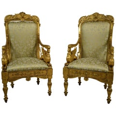 Pair of Italian Neoclassical Armchairs in Carved and Gilded Wood, 18th Century