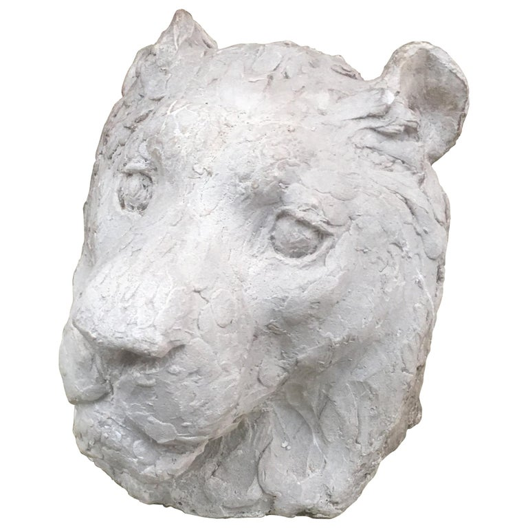 "Ernestine Sirine-Real ""Lioness's Head"", Plaster, circa 1930 For Sale"