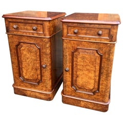 Bedside Cabinets in Burr Walnut, circa 1870