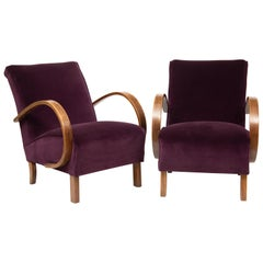 Pair of 1930s Art Deco Redcurrant Armchairs Lounge Chairs by Jindrich Halabala