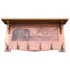 Large Size and Hand Carved Art Deco Wall Coat Rack with Bull Elephant in Relief