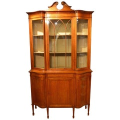 Satinwood Edwardian Period Serpentine Antique Display Cabinet by Maple & Co.