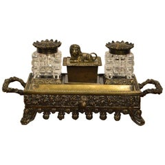 Bronze und Glas frühen viktorianischen Zeitraum Schreibtisch-Set