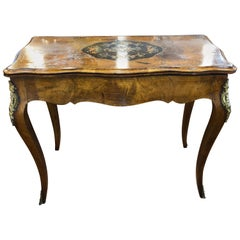 19th Century Victorian Walnut Inlaid English Card Table, 1870s