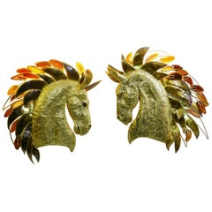 Horse Head Sconces by Isabelle Masson for Faure, Set of 2
