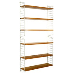 1960s Nisse Strinning String Wall Shelf with White Ladders and Shelf Boards