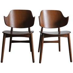 Jens Hjorth Scandinavian Midcentury Modern Wood Chairs Armchairs, 1950s