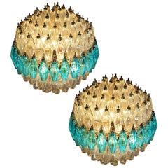 Amazing Pair of Spherical Murano Poliedri Candeliers Carlo Scarpa Style, Murano