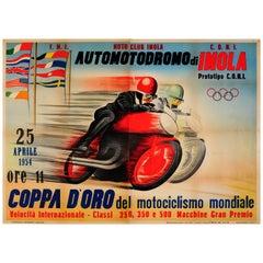 Original Vintage Motorcycle Racing Poster for Automotodromo Di Imola Coppa D'Oro