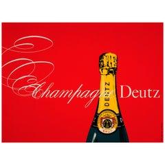Large Original Vintage French Champagne Poster - Champagne Deutz Gold Lack Brut