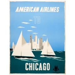 Original Vintage Travel Poster American Airlines to Chicago Ft Sailing City View