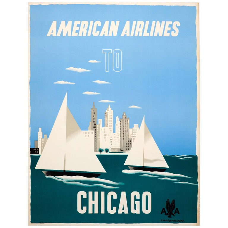 Original Vintage Travel Poster American Airlines to Chicago Ft Sailing City View For Sale