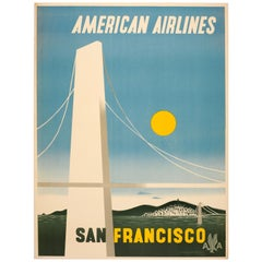 Original Vintage Travel Poster American Airlines San Francisco Golden Gate Brdge