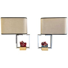 1970s 2 Asymmetrical Nickel and Brass Table Lamps with Murano Red Glass Rocks