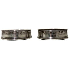 18th Century Antique George III Pair Sterling Silver Wine Coasters, London, 1791