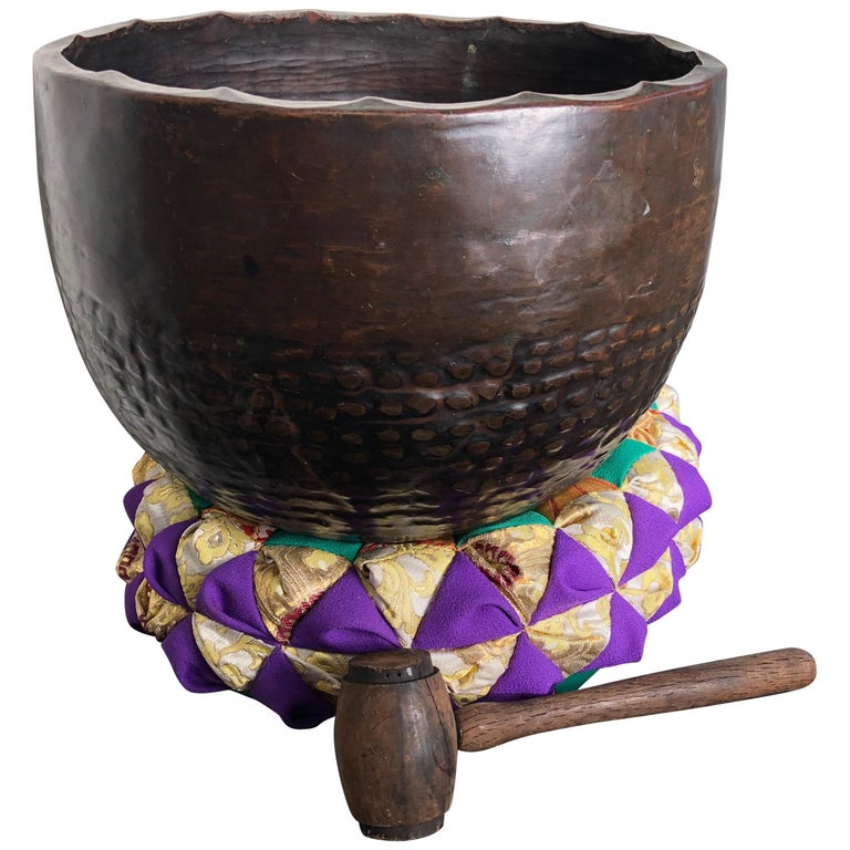 Japan Big Antique Bronze Meditation Bell Soothing Sound Guaranteed to Please You For Sale