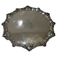 Mid-18th Century Antique George III Sterling Silver Salver London, 1764