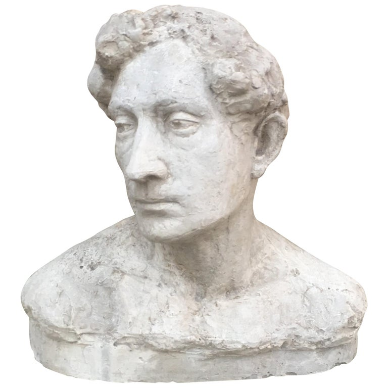 """Ernestine Sirine-Real """"Romantique Art Deco"""" Bust of a Man"""", Plaster For Sale"""