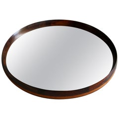 Vintage Rosewood and Leather Mirror, Denmark, 1950s