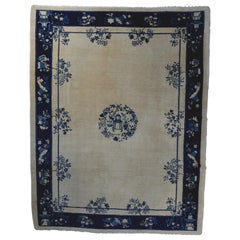 Antique Chinese Hand Knotted Peking Carpet, Blue and White, circa 1920