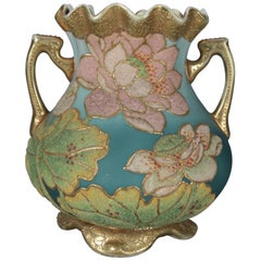 Antique Art Deco Nippon Porcelain Hand Painted & Gilt Coraline Vase, circa 1920