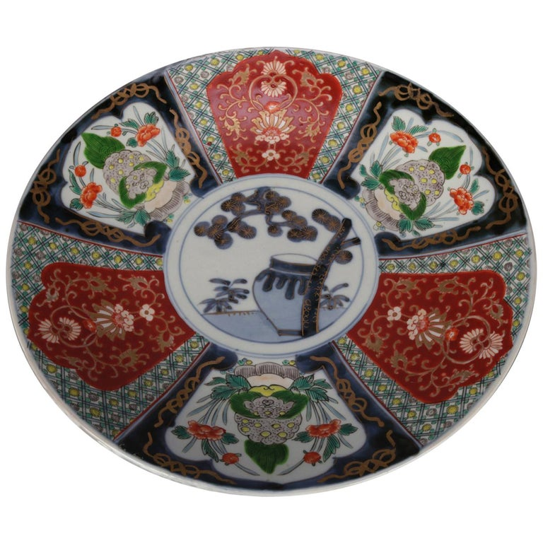 Antique Japanese Imari Hand Painted and Gilt Porcelain Charger with Garden For Sale