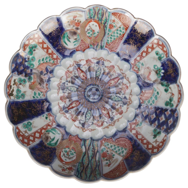 Antique Japanese Imari Hand Painted & Gilt Porcelain Charger with Phoenix For Sale