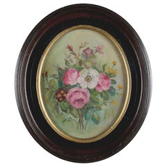 Antique Still Life Oil on Canvas Floral Bouquet in Deep Walnut Frame, circa 1890